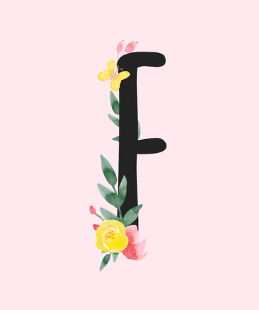 Watercolor vector capital letter F with flowers.