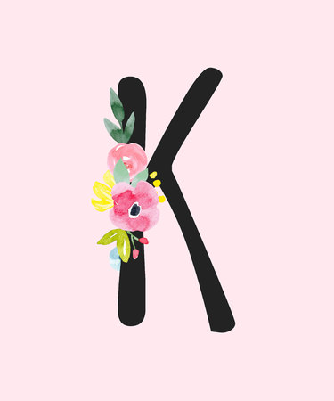 Watercolor vector capital letter K with flowers.