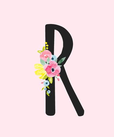Watercolor vector roman alphabet capital letter