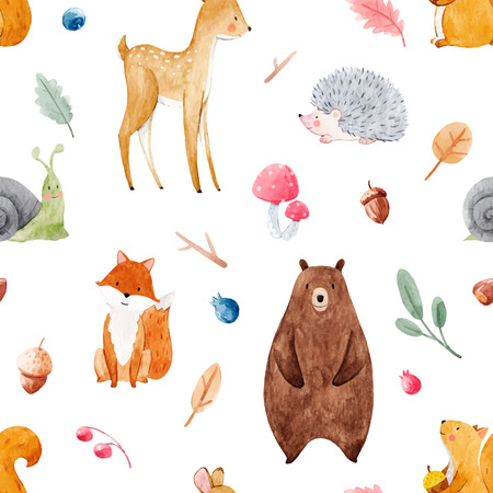 Beautiful vector seamless watercolor baby pattern with nice animals