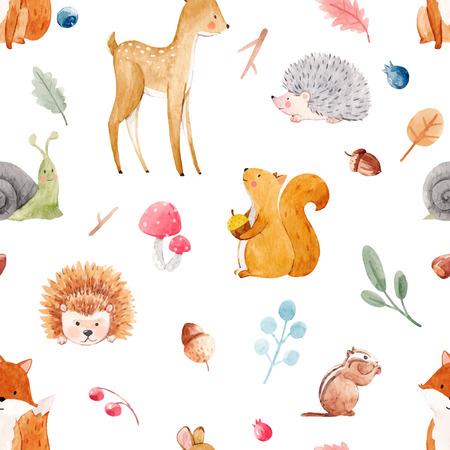 美しいベクトルシームレスな水彩画の赤ちゃんのパターンと素敵な動物