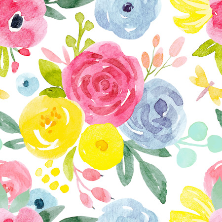 Watercolor abstract floral vector pattern