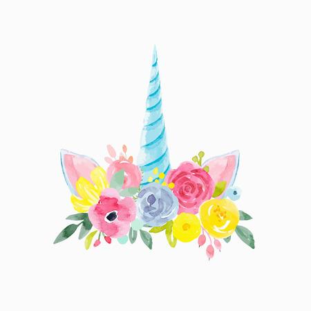 Watercolor floral vector composition Stock Photo