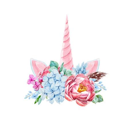 Watercolor floral composition