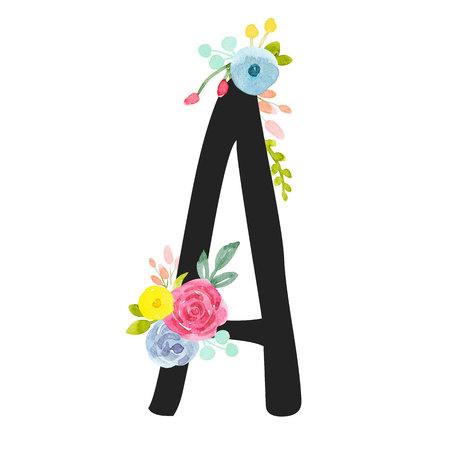 Aquarelle lettre majuscule alphabet romain Banque d'images - 91384100