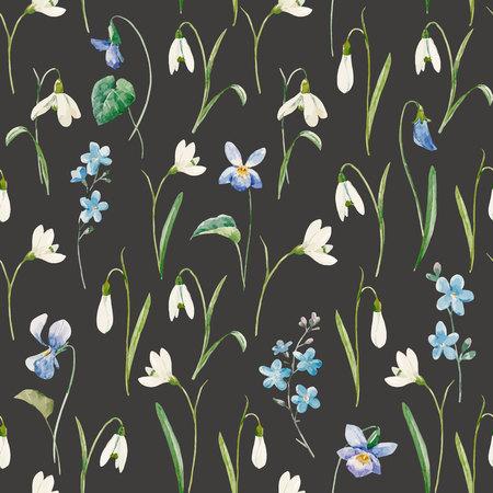 Mooi naadloos vectorpatroon met de hand getrokken bloemen van het waterverfsneeuwklokje