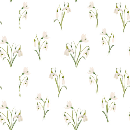 Beautiful seamless vector pattern with hand drawn watercolor snowdrop flowers