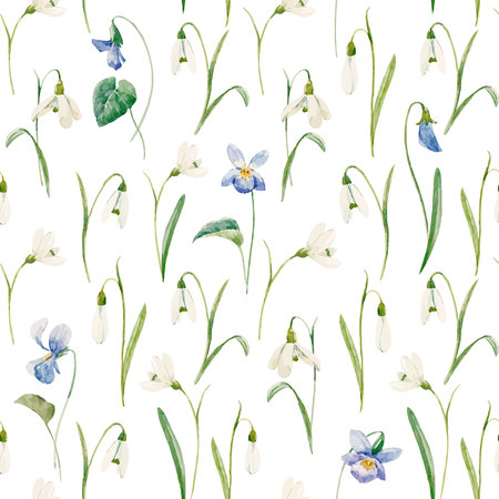 Beautiful seamless vector pattern with hand drawn watercolor snowdrop flowers. Çizim