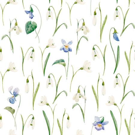 Bello modello senza cuciture con i fiori disegnati a mano di bucaneve dell'acquerello.