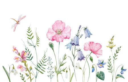 수채화 꽃 조성