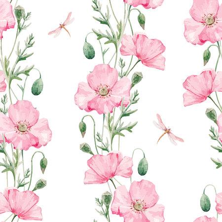 손으로 그려진 수채화 양 귀 비 꽃과 아름 다운 완벽 한 벡터 패턴 일러스트