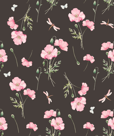 Beautiful seamless vector pattern with hand drawn watercolor poppy flowers 向量圖像