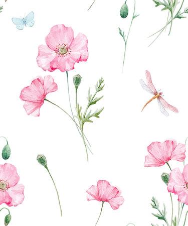 Aquarel bloemen vector patroon Stockfoto - 91247975