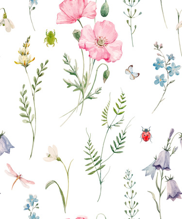 Beautiful seamless vector pattern with hand drawn watercolor poppy flowers Ilustração