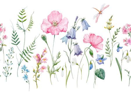 Akwarela wektor kwiatowy wzór