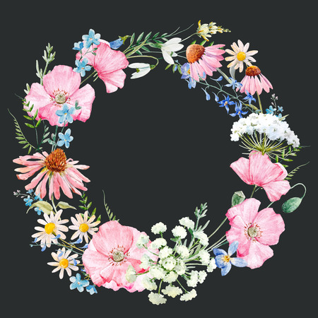 水彩花の花輪 写真素材