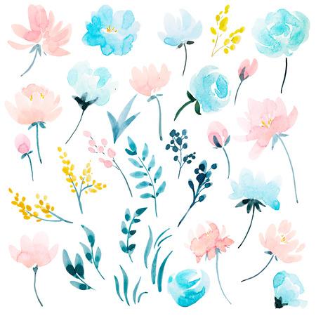 Conjunto floral de aquarela Foto de archivo - 91730512