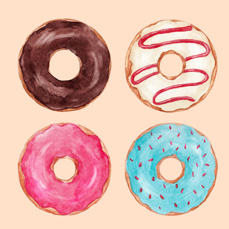 Beautiful set with isolated watercolor hand drawn tasty donuts