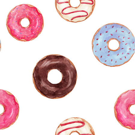 Beautiful seamless vector pattern with watercolor, hand drawn tasty donuts.