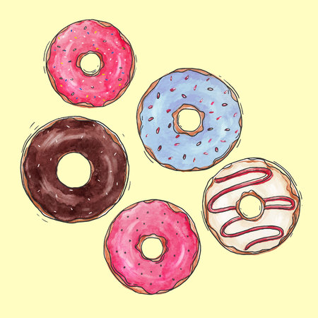 Beautiful vector set with isolated watercolor, hand drawn tasty donuts.