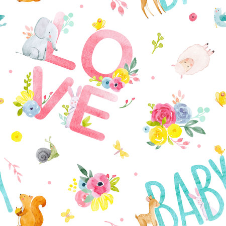 Watercolor baby pattern on white background, vector illustration. Illustration