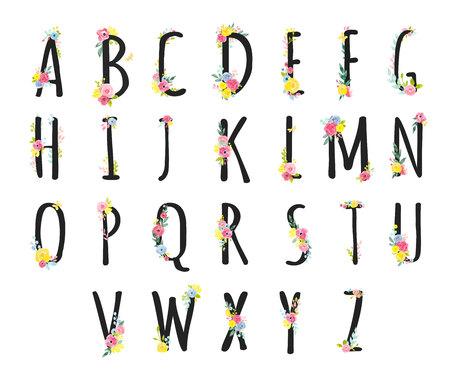 手描き水彩花と美しいローマ字の大文字