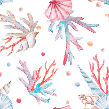 Watercolor sea life pattern Banco de Imagens