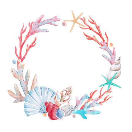 Watercolor coral composition Banque d'images