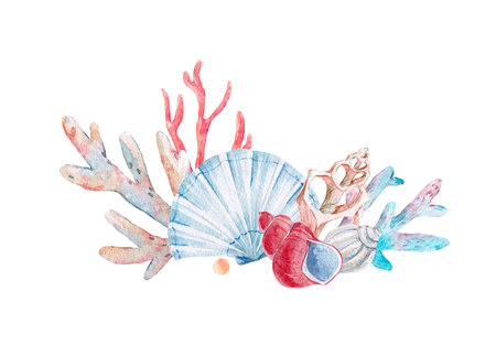Watercolor coral composition Stok Fotoğraf