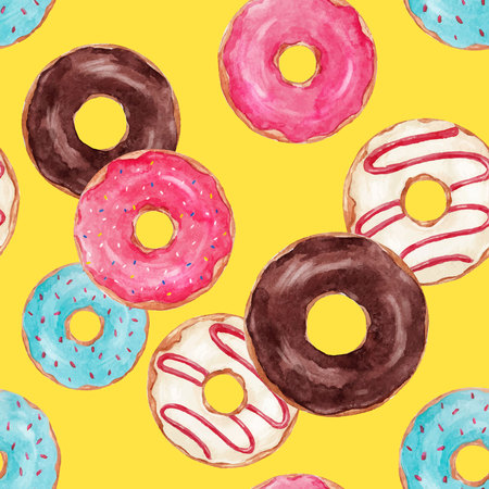 Watercolor tasty donuts vector pattern Banco de Imagens