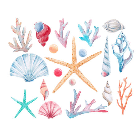 Watercolor coral vector set Stock fotó