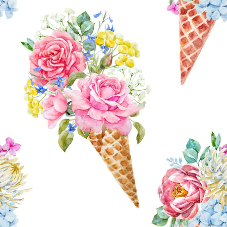 Beautiful vector seamless pattern with watercolor ice cream cone with flowers Vectores