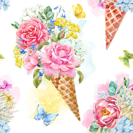 Beautiful vector seamless pattern with watercolor ice cream cone with flowers Ilustração