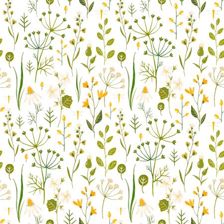 手描きの水彩画の花と美しいボーダーレスパターン。