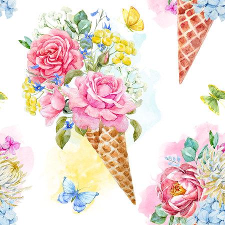 Aquarell Blumenmuster Standard-Bild - 92508152