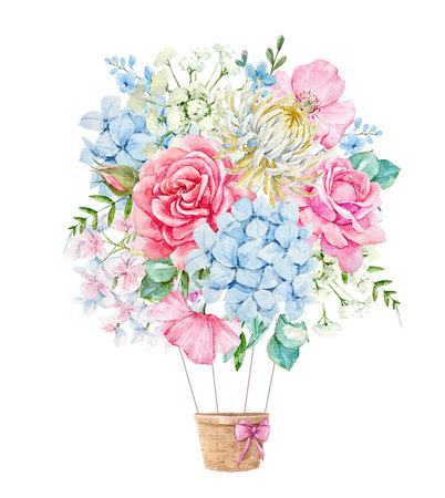 Aquarell Blumenzusammensetzung Standard-Bild - 92607624