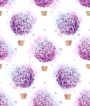 Beautiful seamless vector pattern with hand drawn watercolor floral air baloons Illustration