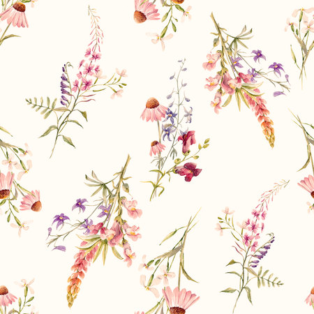 Watercolor floral summer pattern