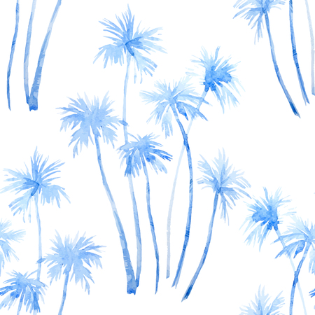 Beautiful pattern with hand drawn watercolor tropical palm trees Ilustração