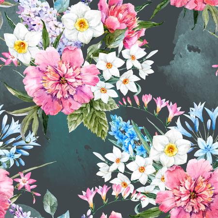 水彩画ベクター花柄  イラスト・ベクター素材