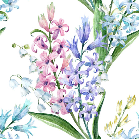 Watercolor hyacinth pattern Фото со стока