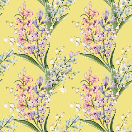 Watercolor hyacinth pattern Stock Photo