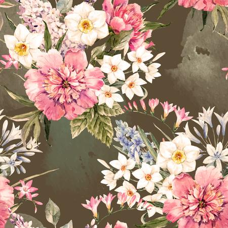 Mooi vector naadloos patroon met waterverfhand getrokken bloemen