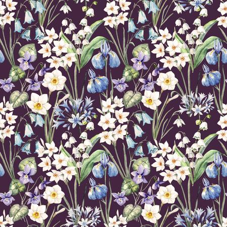 Watercolor spring floral pattern Фото со стока