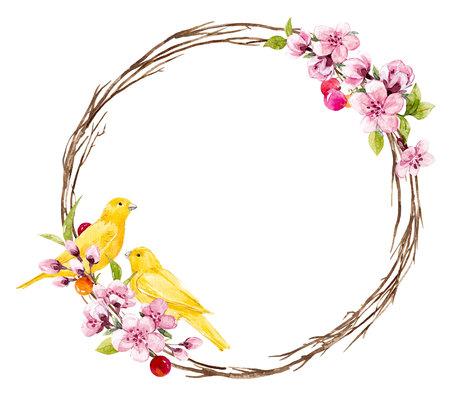 Aquarell floralen Rahmen Standard-Bild - 93253887