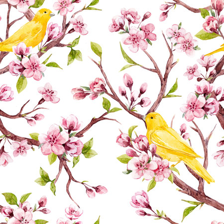 Beautiful vector seamless pattern with watercolor sakura flowers with birds