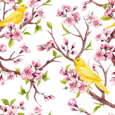 Mooi vector naadloos patroon met de bloemen van waterverfsakura met vogels