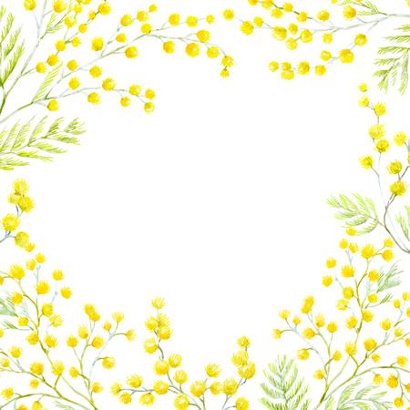 Watercolor mimosa frame