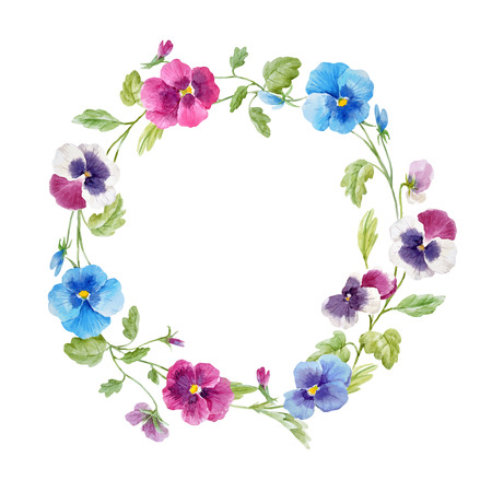 Beautiful vector wreath with hand drawn watercolor pansy flowers on transparent background Vettoriali