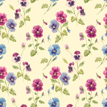 Watercolor pansy flower vector pattern Vettoriali